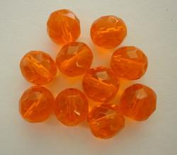 Tsekkiläinen fasettihiottu lasihelmi pyöreä oranssi 10 mm (20/pss)