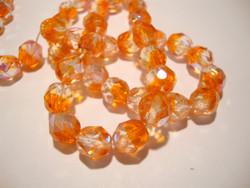 Tsekkiläinen fasettihiottu lasihelmi pyöreä oranssi/kirkas AB  8 mm (20/pss)