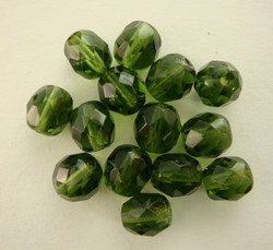 Tsekkiläinen fasettihiottu lasihelmi pyöreä tumma oliivi 8 mm (20/pss)