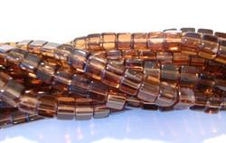Lasihelmi ruskea kuutio 4x4 mm (n.80/nauha)