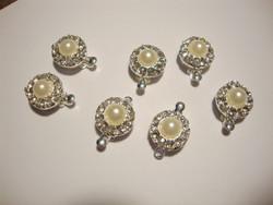 Laatikkolukko hopeoitu helmiäislasihelmi ja strassikoriste 15 x 12 mm (2 kpl/pss)