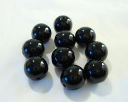 Tsekkiläinen lasihelmi musta pyöreä 10 mm (20/pss)