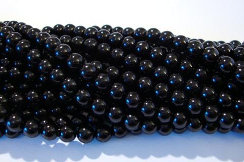 Helmiäislasihelmi musta 6 mm (n.35/nauha)