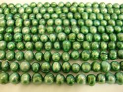 Makeanvedenhelmi vihreä pyöreähkö 5-6mm (37 cm nauha)