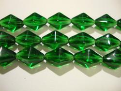Lasihelmi vihreä pitkä bicone 15x10 mm (n. 20 kpl/nauha)