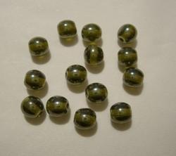 Tsekkiläinen lasihelmi hohtava oliivin vihreä 6 mm (50/pss)