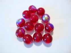 Tsekkiläinen lasihelmi punainen hopeoitu pyöreä 8 mm (20/pss)