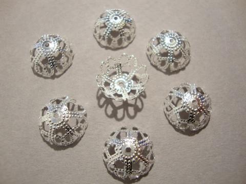 Helmihattu filigraani hopean värinen 12 mm (10 / pss)