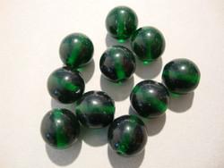 Tsekkiläinen lasihelmi tumma vihreä pyöreä 10 mm (20/pss)