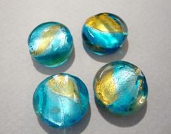 Lamppuhelmi mango / vedensininen pyöreä litteä 15 mm