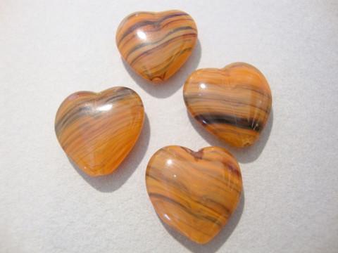 Lasihelmi oranssi sydän 15 x 15 mm (5 kpl/pss)