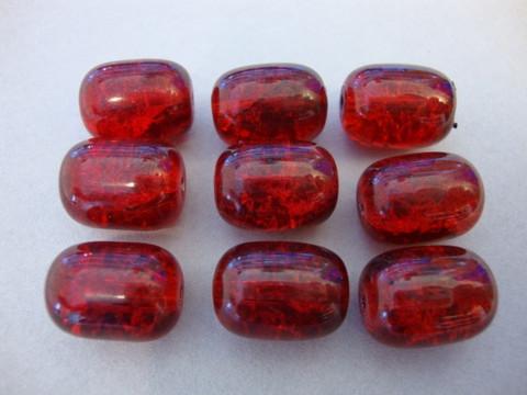 Särölasihelmi punainen ovaali/tynnyri 12 x 16 mm (5/pss)