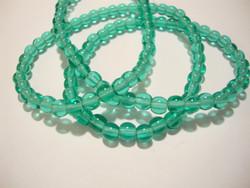 Tsekkiläinen lasihelmi vaalea Teal /vihreä pyöreä 4 mm (50 kpl/pss)