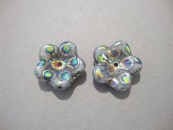Tsekkiläinen lasihelmi hopeanhohtoinen kuvioitu kukka 16 mm