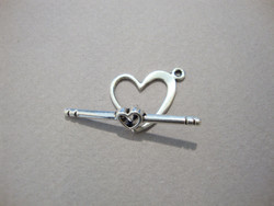 Salpalukko hopeoitu sydän 12 mm/salpa 26 mm