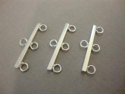 Korulinkki/nauhanpää 1 + 3 lenkkiä 25 mm sileä hopeoitu (2 kpl/pss)