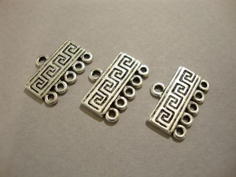 Korulinkki/nauhanpää 1 + 5 lenkkiä 17 x 8 mm 'Kreikkalainen avain' (2 kpl/pss)