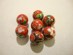 Cloisonne-helmi punainen pyöreä 12 mm (5 kpl/pss)