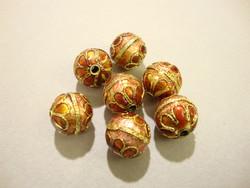 Cloisonne-helmi oranssi/kupari pyöreä 12 mm (5 kpl/pss)