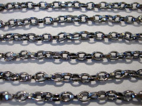 Ketju lenkki +/- 4,8 x 3,7 mm gunmetal musta (myyntierä 1 m)