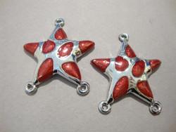 Korulinkki / riipus metalli + epoksi punainen +/- 34 x 32 mm