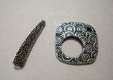 TierraCast Salpalukko hopeoitu Spiraali neliö 18 x 18 mm/salpa 24 mm