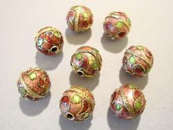 Cloisonne-helmi ruskea/vihreä pyöreä 10 mm (5 kpl/pss)