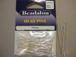 Beadalon korupiikki hopeoitu 50 x 0,5 mm tasapää (108 kpl/pss)