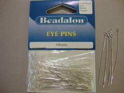 Beadalon korupiikki hopeoitu 50 x 0,5 mm silmukkapää  (108 kpl/pss)