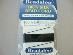 Beadalon helmisilkki musta 0,45 mm (pakkaus 2 m+neula)