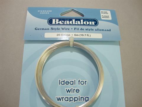 Beadalon hopeoitu metallilanka, paksuus 20 gauge = 0,81 mm (6 m/pakkaus)