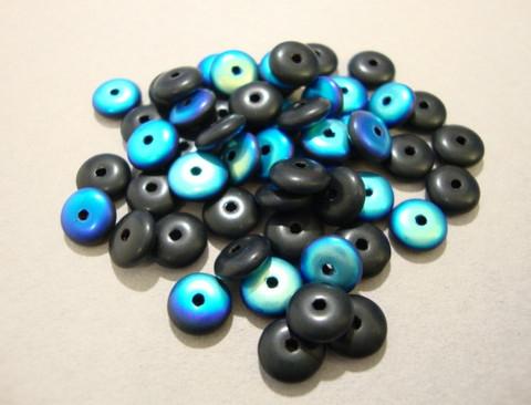 Tsekkiläinen lasihelmi opaakki musta AB rondelli 6 mm (10/pss)