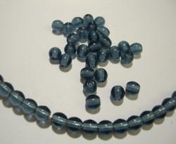 Tsekkiläinen lasihelmi Montanan sininen kirkas pyöreä 4 mm (50 kpl/pss)