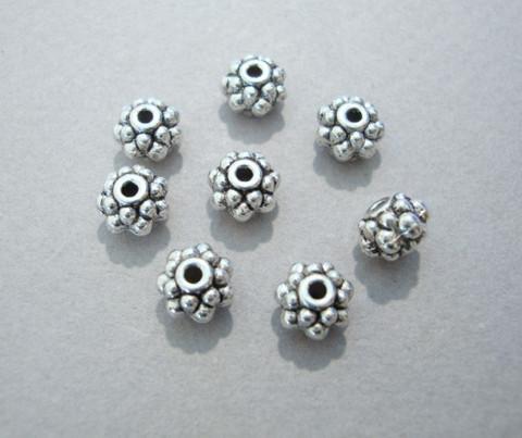 Metallihelmi pyöreä hopeanvärinen 6 x 5 mm (10 kpl/pss)