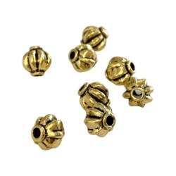 Metallihelmi pyöreä uritettu kullanvärinen 8 mm (10 kpl/pss)