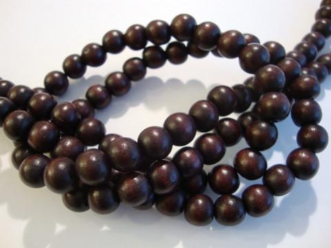 Puuhelmi tumma ruskea pyöreä 8 mm (n.50 kpl/nauha)