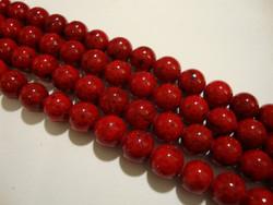Marmori värjätty punainen pyöreä 6 mm (25 kpl/pss)