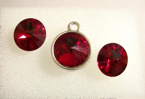 Swarovski kristalli rivoli Siam punainen 12 mm