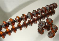 Tsekkiläinen lasihelmi hyrrä metalli/oranssi 8 x 10 mm (4 kpl/pss)