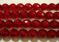 Tsekkiläinen fasettihiottu lasihelmi pyöreä rubiinin punainen 10 mm (20/pss)