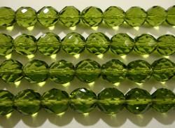 Tsekkiläinen fasettihiottu lasihelmi pyöreä oliivin vihreä 10 mm (20/pss)