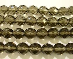 Tsekkiläinen fasettihiottu lasihelmi pyöreä savunharmaa 10 mm (20/pss)
