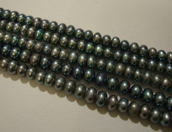 Makeanvedenhelmi hohtava harmaa rondelli 4 - 5 mm (37 cm nauha)