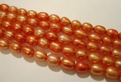 Makeanvedenhelmi oranssi soikea 6 x 5 mm (37 cm nauha)