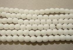Tsekkiläinen lasihelmi opaakki valkoinen pyöreä 4 mm (50/pss)