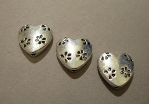 Metallihelmi Sydän hopean värinen 14 mm (5 kpl/pss)