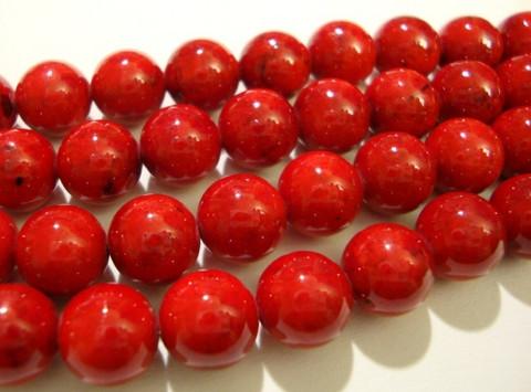 Marmori värjätty punainen pyöreä 8 mm (25 kpl/pss)