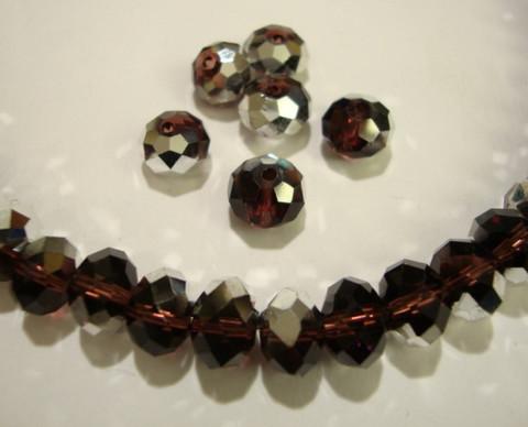 Kristallihelmi  tumma ametisti hopean värisellä pintakäsittelyllä 8 x 6 mm (10/pss)