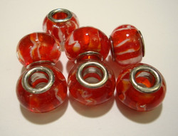 Pandora style -helmi punainen / oranssi 14 x 10 mm