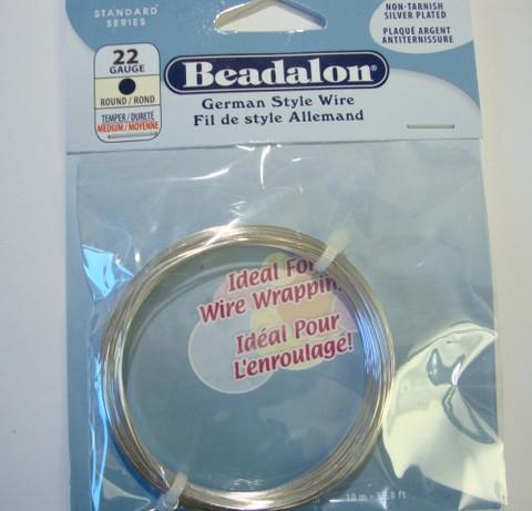 Beadalon hopeoitu metallilanka, paksuus 22 gauge = 0,64 mm (10 m/pakkaus)